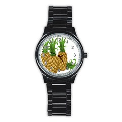 Pineapples Tropical Fruits Foods Stainless Steel Round Watch