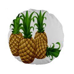 Pineapples Tropical Fruits Foods Standard 15  Premium Flano Round Cushions