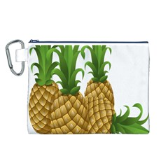 Pineapples Tropical Fruits Foods Canvas Cosmetic Bag (L)