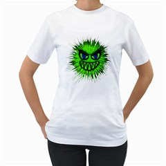 Monster Green Evil Common Women s T Shirt (white) (two Sided)