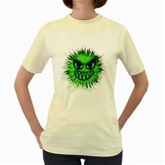 Monster Green Evil Common Women s Yellow T-Shirt