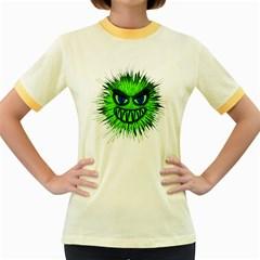 Monster Green Evil Common Women s Fitted Ringer T-Shirts