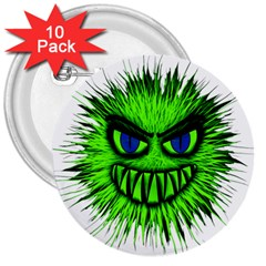 Monster Green Evil Common 3  Buttons (10 pack)