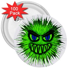 Monster Green Evil Common 3  Buttons (100 pack)