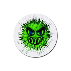 Monster Green Evil Common Rubber Round Coaster (4 pack)