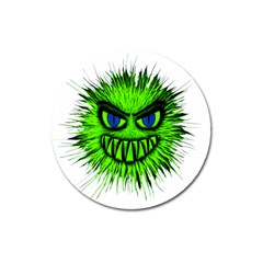 Monster Green Evil Common Magnet 3  (Round)