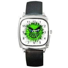 Monster Green Evil Common Square Metal Watch