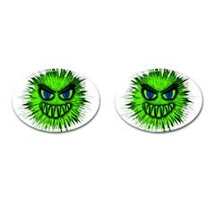 Monster Green Evil Common Cufflinks (Oval)