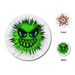 Monster Green Evil Common Playing Cards (Round)