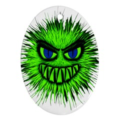 Monster Green Evil Common Oval Ornament (Two Sides)