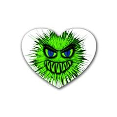 Monster Green Evil Common Heart Coaster (4 pack)