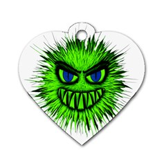 Monster Green Evil Common Dog Tag Heart (Two Sides)