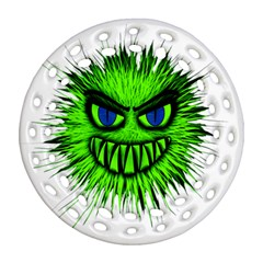 Monster Green Evil Common Round Filigree Ornament (Two Sides)
