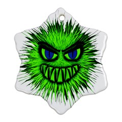 Monster Green Evil Common Snowflake Ornament (Two Sides)