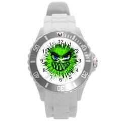 Monster Green Evil Common Round Plastic Sport Watch (L)