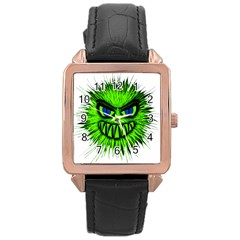 Monster Green Evil Common Rose Gold Leather Watch