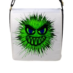 Monster Green Evil Common Flap Messenger Bag (L)