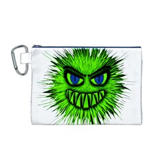 Monster Green Evil Common Canvas Cosmetic Bag (M)