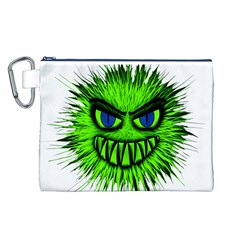 Monster Green Evil Common Canvas Cosmetic Bag (L)