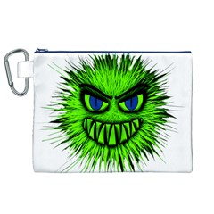 Monster Green Evil Common Canvas Cosmetic Bag (XL)