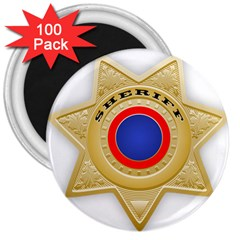 Sheriff S Star Sheriff Star Chief 3  Magnets (100 pack)