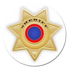 Sheriff S Star Sheriff Star Chief Magnet 5  (Round)