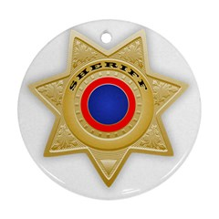Sheriff S Star Sheriff Star Chief Round Ornament (Two Sides)
