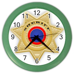 Sheriff S Star Sheriff Star Chief Color Wall Clocks
