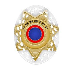 Sheriff S Star Sheriff Star Chief Oval Filigree Ornament (Two Sides)