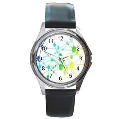 Network Connection Structure Knot Round Metal Watch