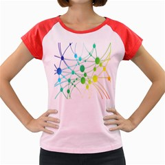 Network Connection Structure Knot Women s Cap Sleeve T-Shirt