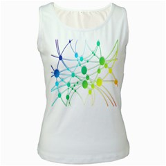 Network Connection Structure Knot Women s White Tank Top