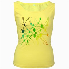 Network Connection Structure Knot Women s Yellow Tank Top