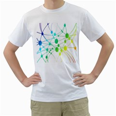 Network Connection Structure Knot Men s T-Shirt (White) (Two Sided)