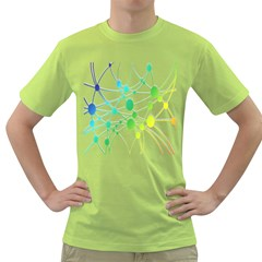 Network Connection Structure Knot Green T-Shirt