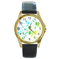 Network Connection Structure Knot Round Gold Metal Watch