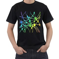 Network Connection Structure Knot Men s T-Shirt (Black) (Two Sided)
