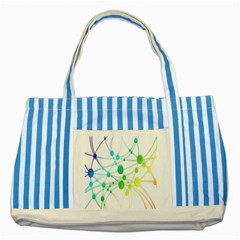 Network Connection Structure Knot Striped Blue Tote Bag