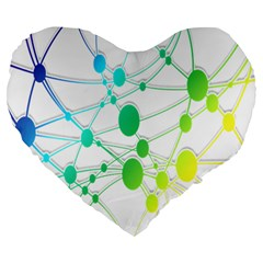 Network Connection Structure Knot Large 19  Premium Heart Shape Cushions