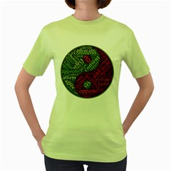 Tao Duality Binary Opposites Women s Green T-Shirt