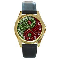Tao Duality Binary Opposites Round Gold Metal Watch