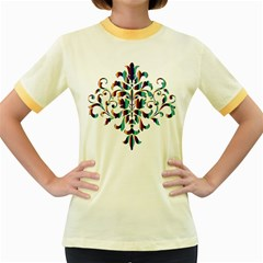 Damask Decorative Ornamental Women s Fitted Ringer T-Shirts