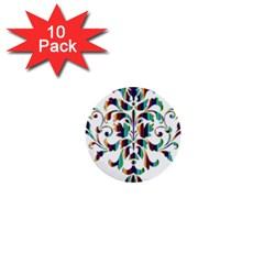 Damask Decorative Ornamental 1  Mini Buttons (10 pack)