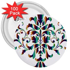 Damask Decorative Ornamental 3  Buttons (100 pack)