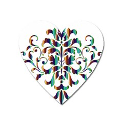 Damask Decorative Ornamental Heart Magnet