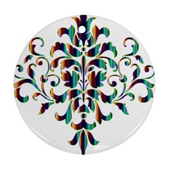 Damask Decorative Ornamental Round Ornament (Two Sides)
