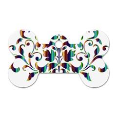 Damask Decorative Ornamental Dog Tag Bone (Two Sides)