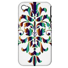 Damask Decorative Ornamental Apple iPhone 4/4S Hardshell Case (PC+Silicone)