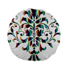 Damask Decorative Ornamental Standard 15  Premium Round Cushions