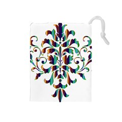 Damask Decorative Ornamental Drawstring Pouches (Medium)